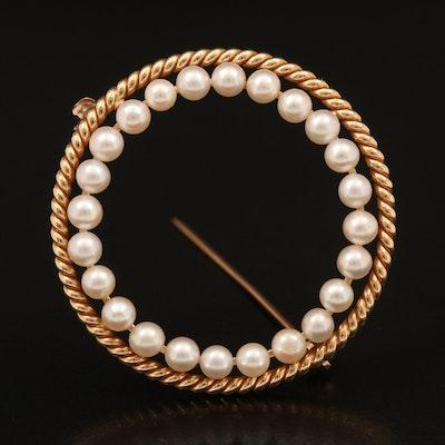 14K Pearl Circle Brooch