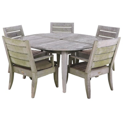 Restoration Hardware Wooden Patio Dining Table and Six Chairs