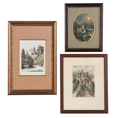 Hand-Colored Lithograph and Etchings of Architecture, Early-Mid 20th Century
