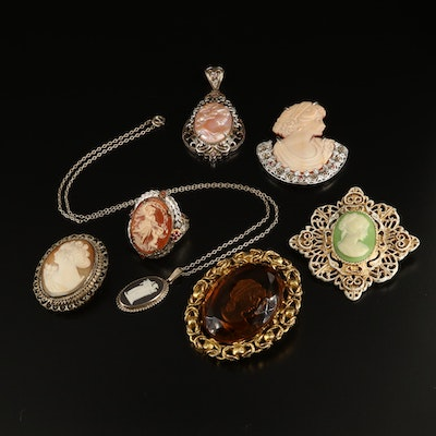 Sterling Cameo Jewelry Collection with Wedgwood and Intaglio