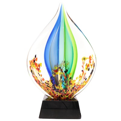 Handcrafted Murano Style Art Glass Teardrop Sculpture on Base