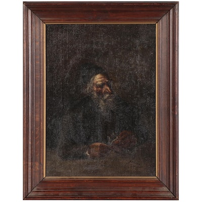 Oil Painting of Elderly Man, Early-Mid 20th Century