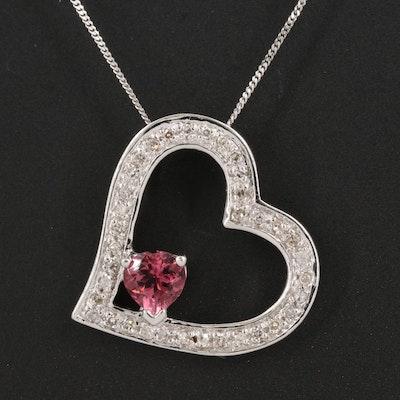 14K Tourmaline and Diamond Heart Pendant Necklace
