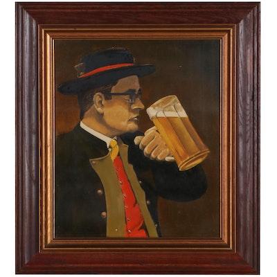 Oil Painting of German Man Drinking Beer, Late 20th Century