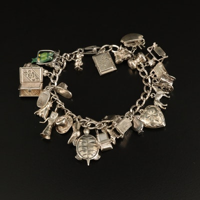Vintage Charm Bracelet with Travel and Hobby Charms