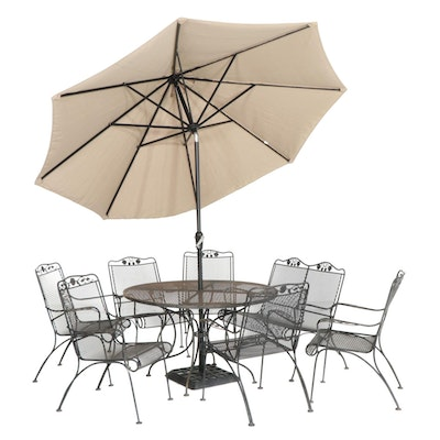Metal Mesh Patio Furniture with Dining Table, Chairs and Loveseat