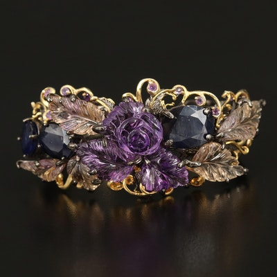 Sterling Carved Amethyst and Citrine Floral Cuff with Corundum Accents