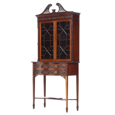 English Late Victorian Chippendale Style Mahogany Cabinet on Base