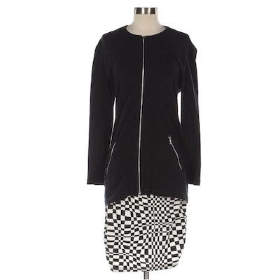 Tapemeasure New York Cotton Blend Abstract Miniskirt and Black Zip Cardigan