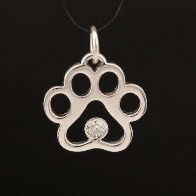 Puppy Paws 14K 0.08 CT Diamond Puppy Paw Pendant with Box