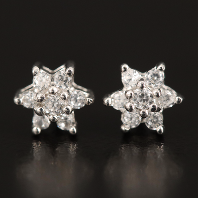 Sterling Zircon Cluster Earrings