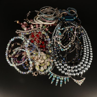 Necklaces, Bracelets and Earrings Featuring Sterling and Rock Crystal Quartz