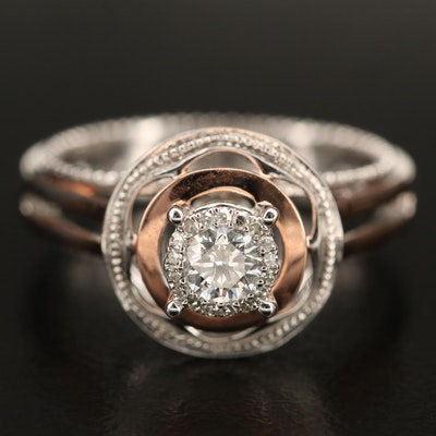 14K 0.29 CTW Diamond Ring with Rose Gold Accents