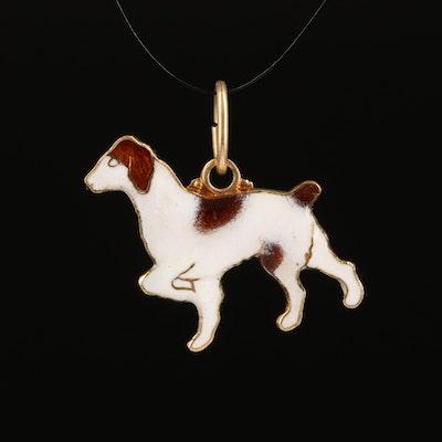 14K Brittany Dog Charm