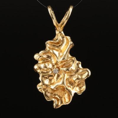 14K 0.01 CT Diamond Nugget Pendant