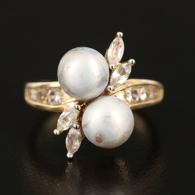 10K Pearl and Sapphire Bypass Ring