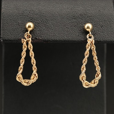 14K Gold Rope Chain Hoop Earrings