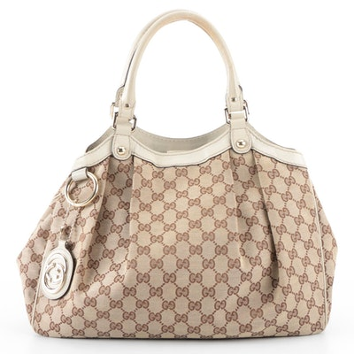 Gucci Sukey Tote Bag Medium Tan GG Canvas and Off-White Leather
