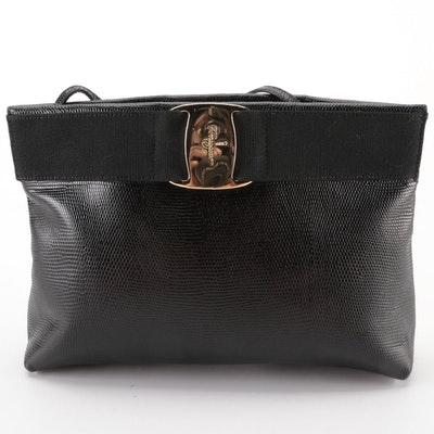 Salvatore Ferragamo Vara Hinge Top Shoulder Bag in Black Embossed Leather