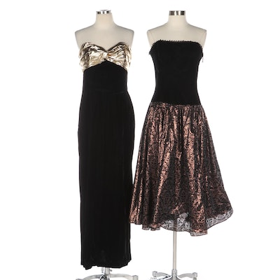 Scott McClintock and After Five Strapless Dresses in Black and Metallic