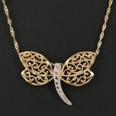 10K Diamond Cut Butterfly Pendant Necklace