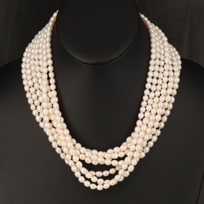 Pearl Necklace with 14K Pearl and Sapphire Clasp
