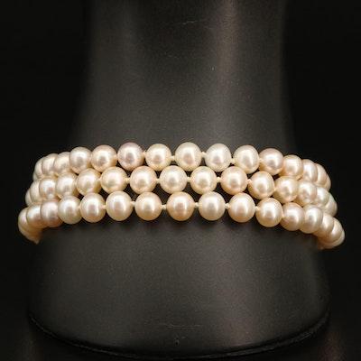 Triple-Strand Pearl Bracelet with 14K Clasp
