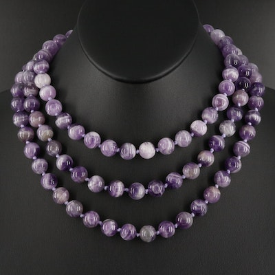 Rope Length Amethyst Bead Necklace