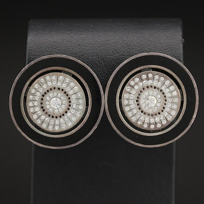 Sterling Button Earrings with Black Enameling