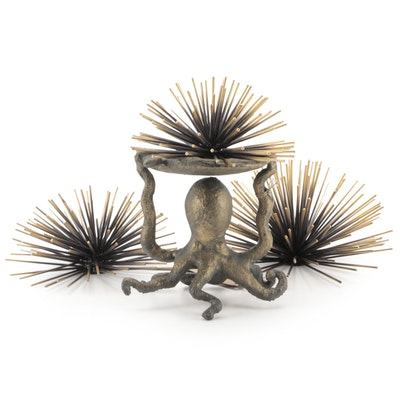 SPI Home Brass Octopus Pillar Candle Holder with Wall Hanging Metal Starbursts