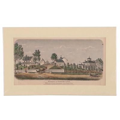 "Worley & Bracher Lithograph ""Residences of Stephen Hoyt & Sons"""