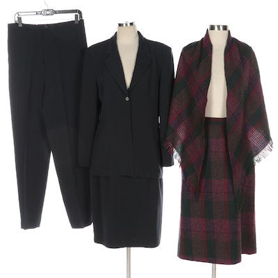 Bill Blass Three-Piece Suit with Other Wool Plaid Skirt and Coordinating Shawl