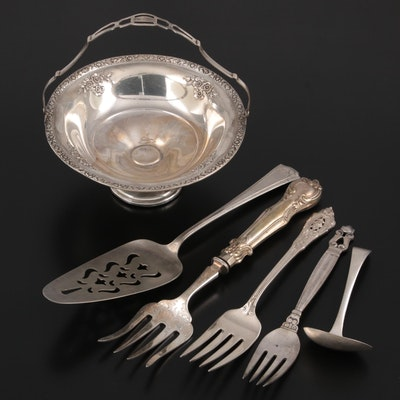"""Fisher """"Rose Bouquet"""" Bonbon Basket and Other Sterling Silver and Plate Utensils"""