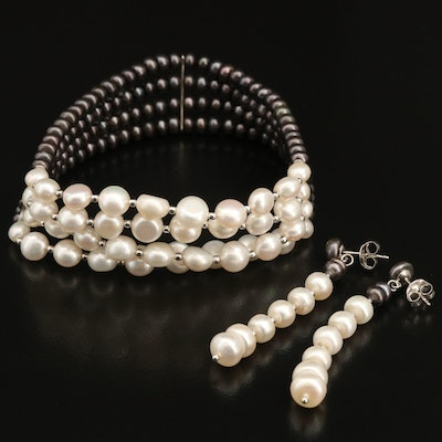 Sterling Pearl Expandable Bracelet and Earring Set
