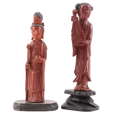 Chinese Cast Resin Figural Snuff Bottle and Figurine