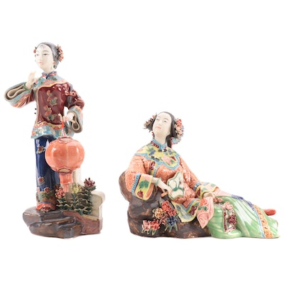 Chinese Lin Wei Dong Porcelain Figurines of Qing Dynasty Women