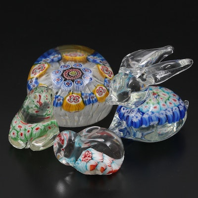 Handcrafted Murano and Other Millefiori and Zanfirico Art Glass Paperweights