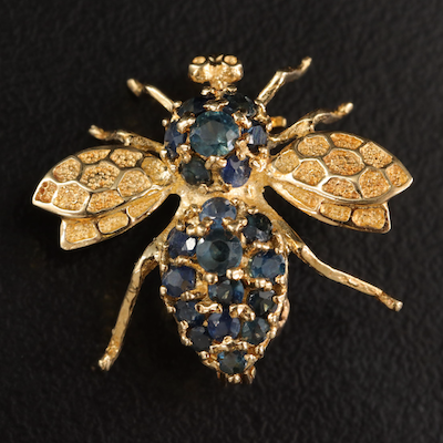 14K Sapphire Insect Brooch
