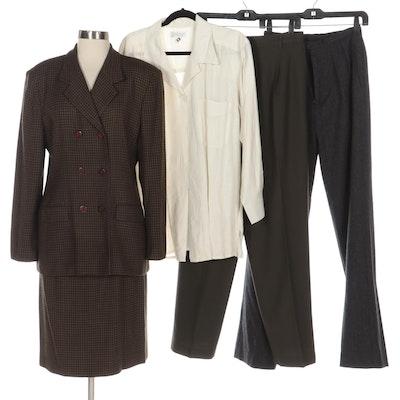 Liz Claiborne Plaid Skirt Suit, Pleated Pants, and Lord & Taylor Linen Blouse