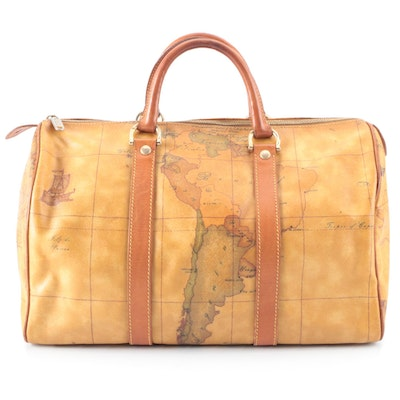 Alviero Martini 1a Classe Small Travel Bag in Geo Coated Canvas & Leather Trim