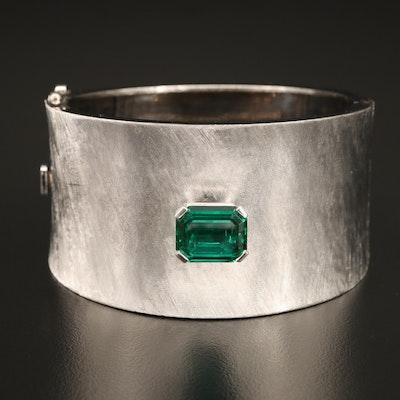 14K Emerald Hinged Bangle with Florentine Finish
