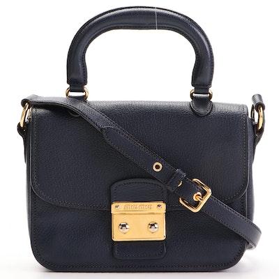 Miu Miu Navy Grained Leather Flap Two-Way Crossbody Bag