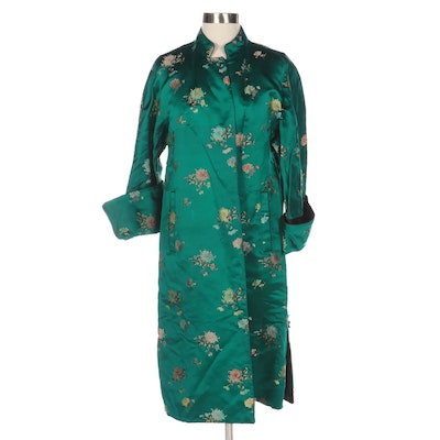 Chinese Spider Mum Floral Brocade Satin Coat with Black Character Mark Lining