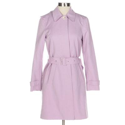 Lauren by Ralph Lauren Petite Belted Trench Coat in Lilac Cotton
