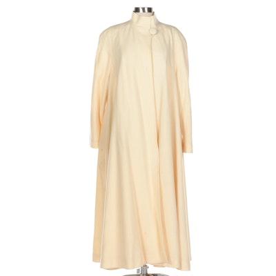 Women's Full-Length Swing Coat in Ivory Wool