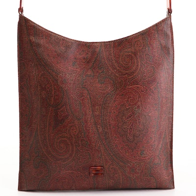 Etro Flat Shoulder Bag in Paisley Coated Canvas with Havana Composite Handle