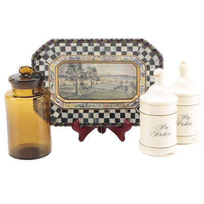 """Mackenzie-Childs """"MacLachlan"""" Platter with Other Apothecary Jars"""