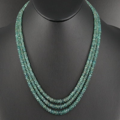 Triple Strand Emerald and Aquamarine Beaded Necklace with 14K Clasp