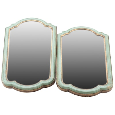 Pair of Florentine Style Teal and Gilt  Wall Mirrors, Mid to Late 20th Century