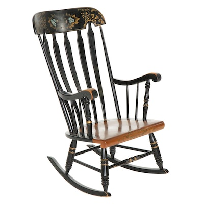 Hitchcock Style Ebonized and Stencil-Decorated Rocking Chair